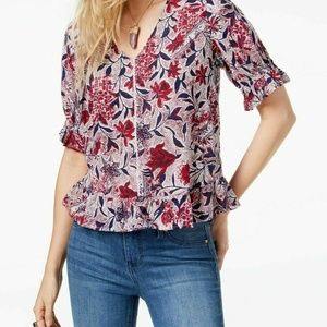 Lucky Brand XS Burgundy Navy Floral Top M1-07